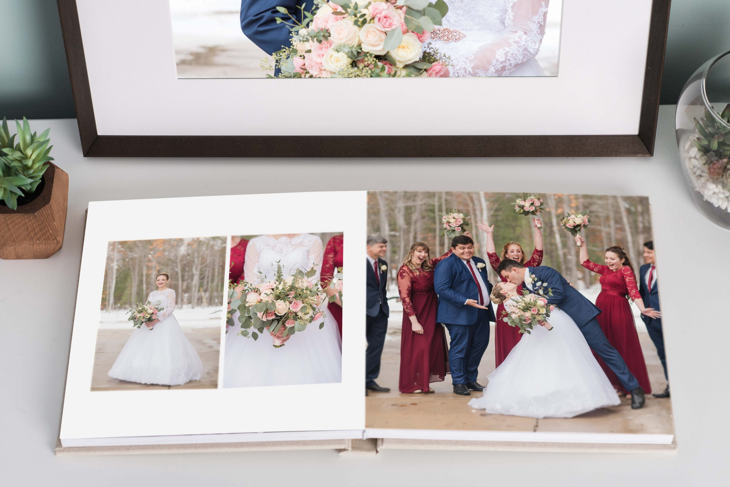 sample framed pictures and album from a winter wedding