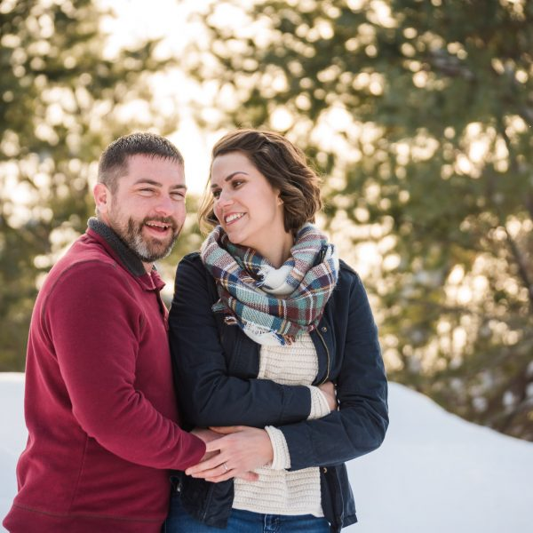upper peninsula engagement session in winter