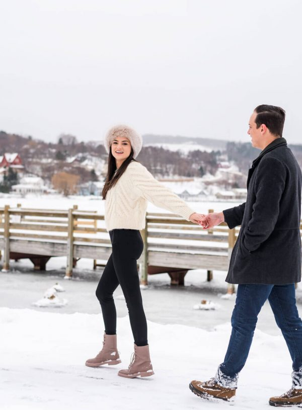 Engagement session in Hancock, Michigan at Portage Canal