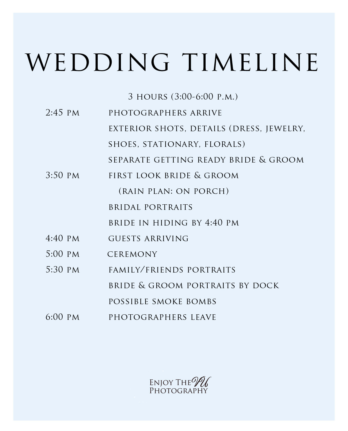 sample upper peninsula wedding timeline 3 hour micro wedding