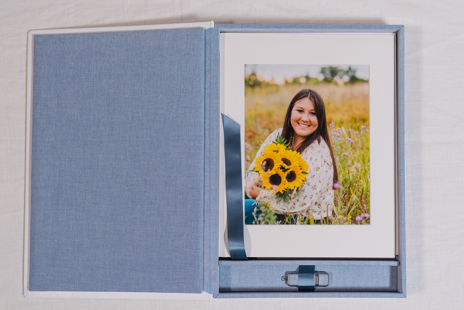 blue white folio box with fine art matted frames products