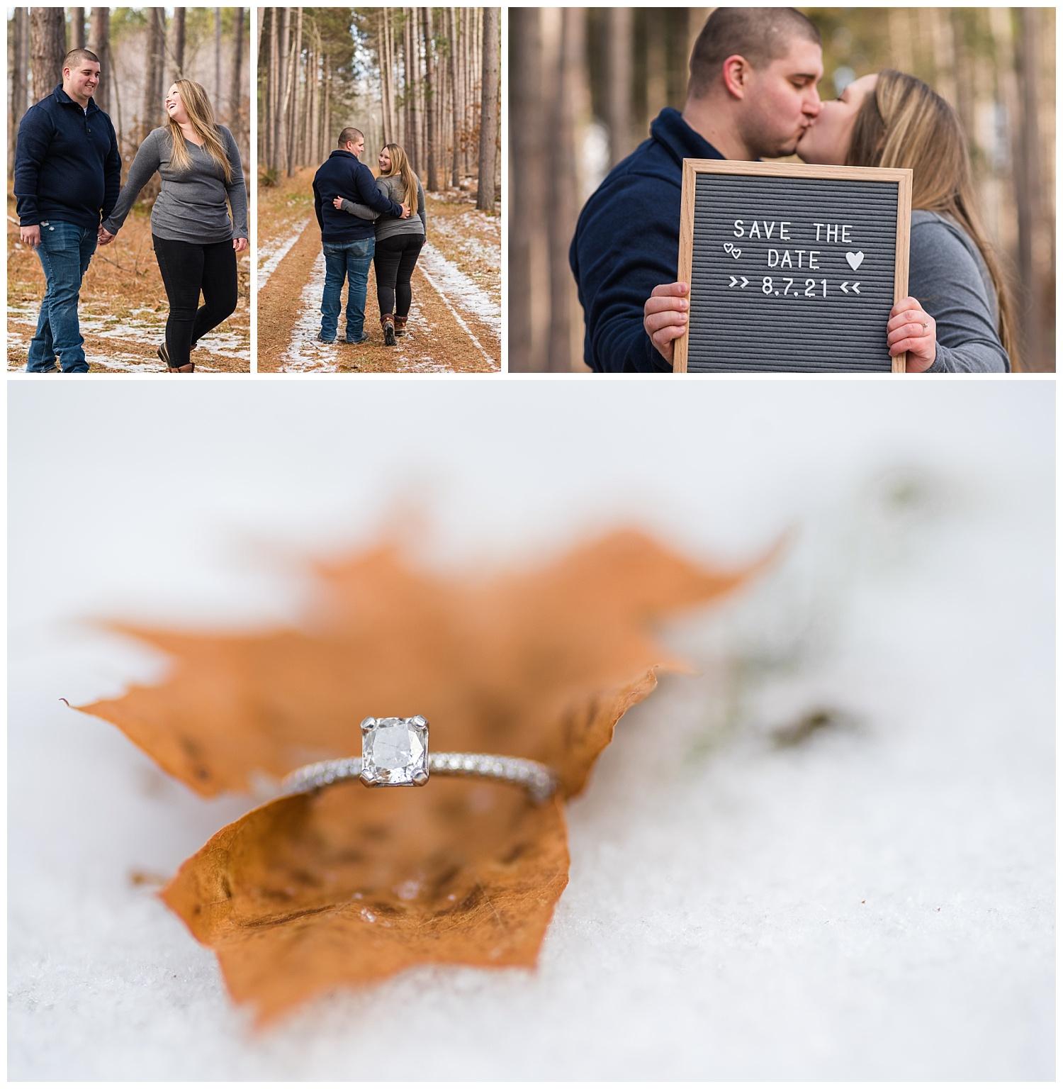lake linden mi engagement session collage for blog
