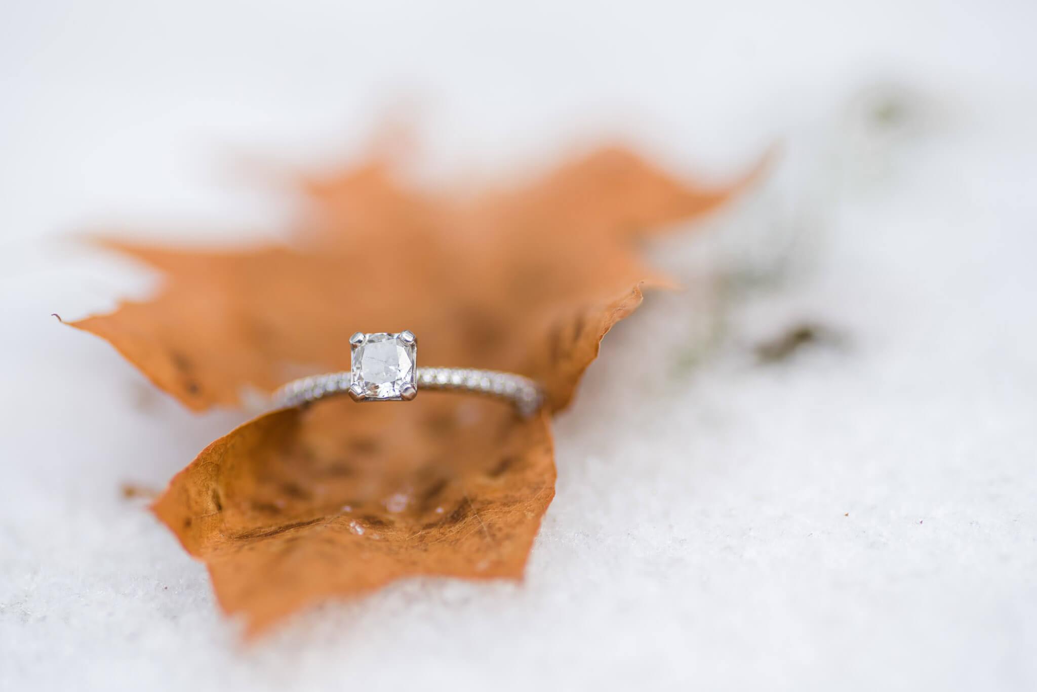 lake linden mi engagement session ring shot