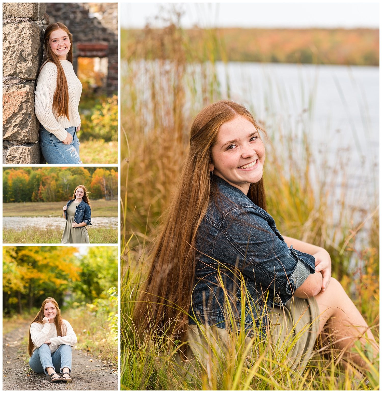 collage from hancock michigan fall senior pictures