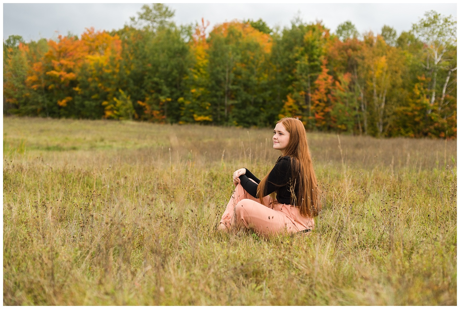 senior pictures with fall foliage in upper peninsula of michigan