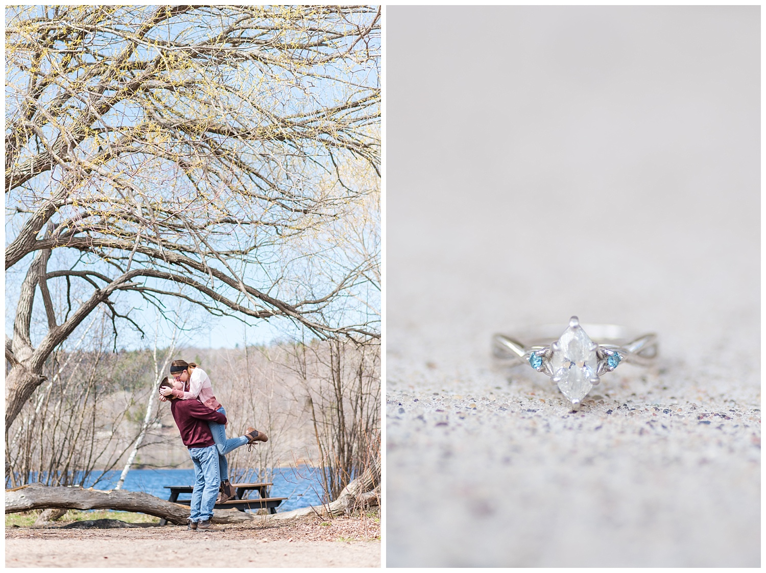 Houghton Michigan engagement session with ring shot