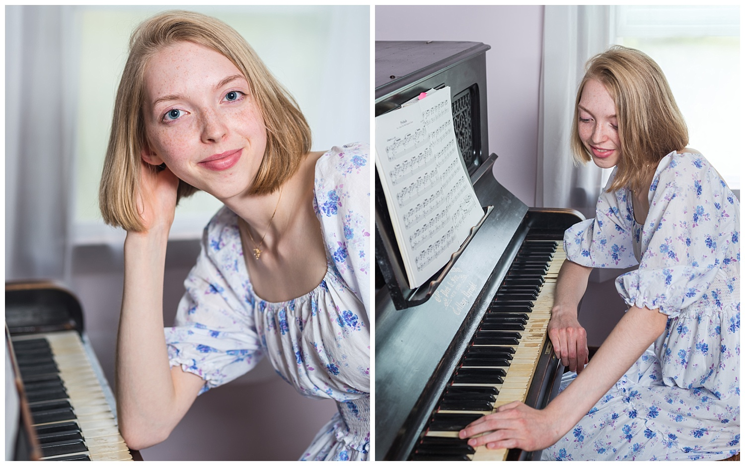 senior pictures with old piano