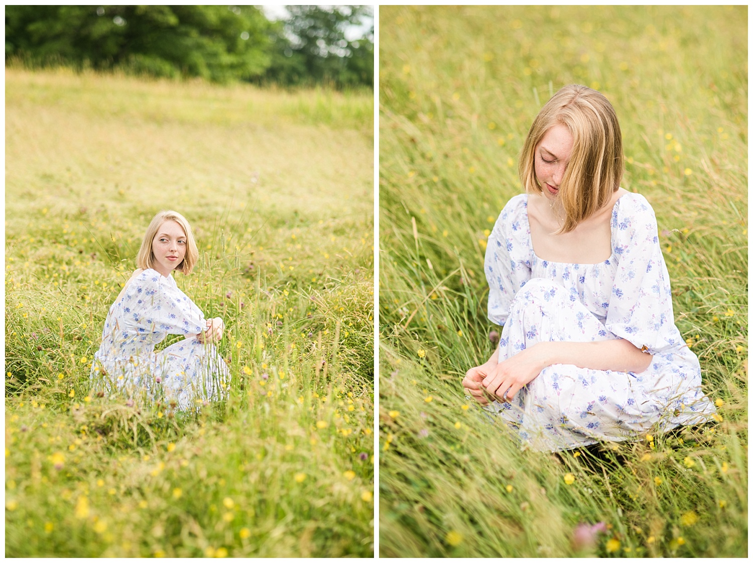 chassell michigan senior pictures in grassy summer field