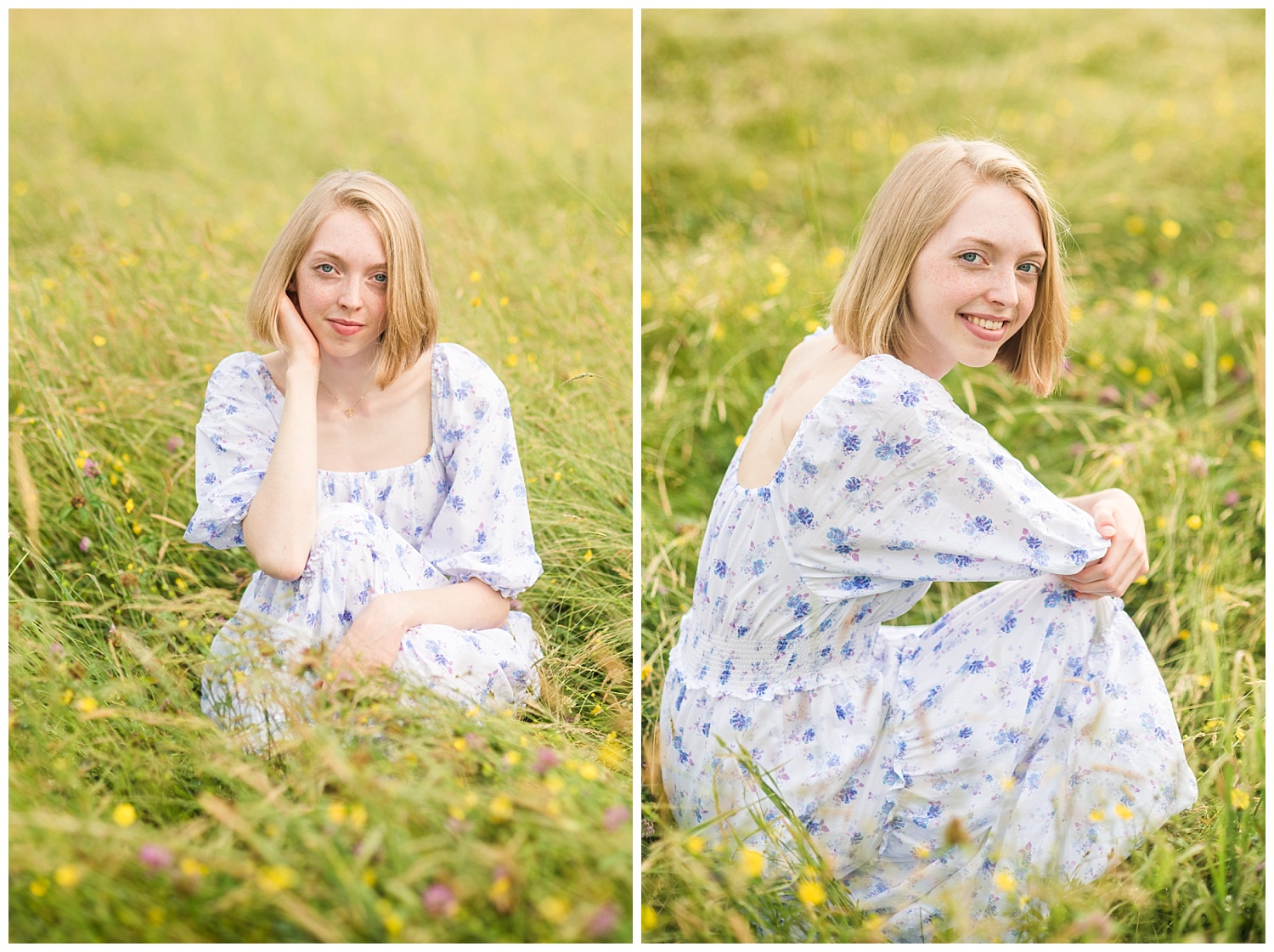 chassell mi senior pictures in grassy summer field