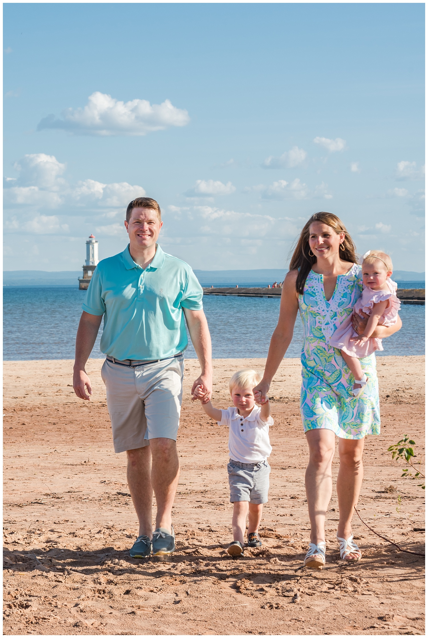 family pictures at white city beach in summer
