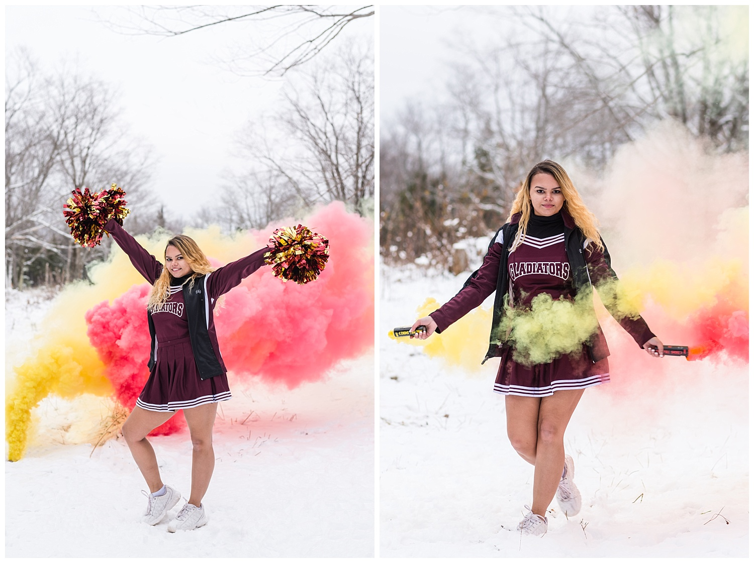 cheerleader senior pictures with smoke bombs