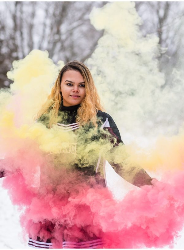 yellow and pink smoke bomb photography senior photos