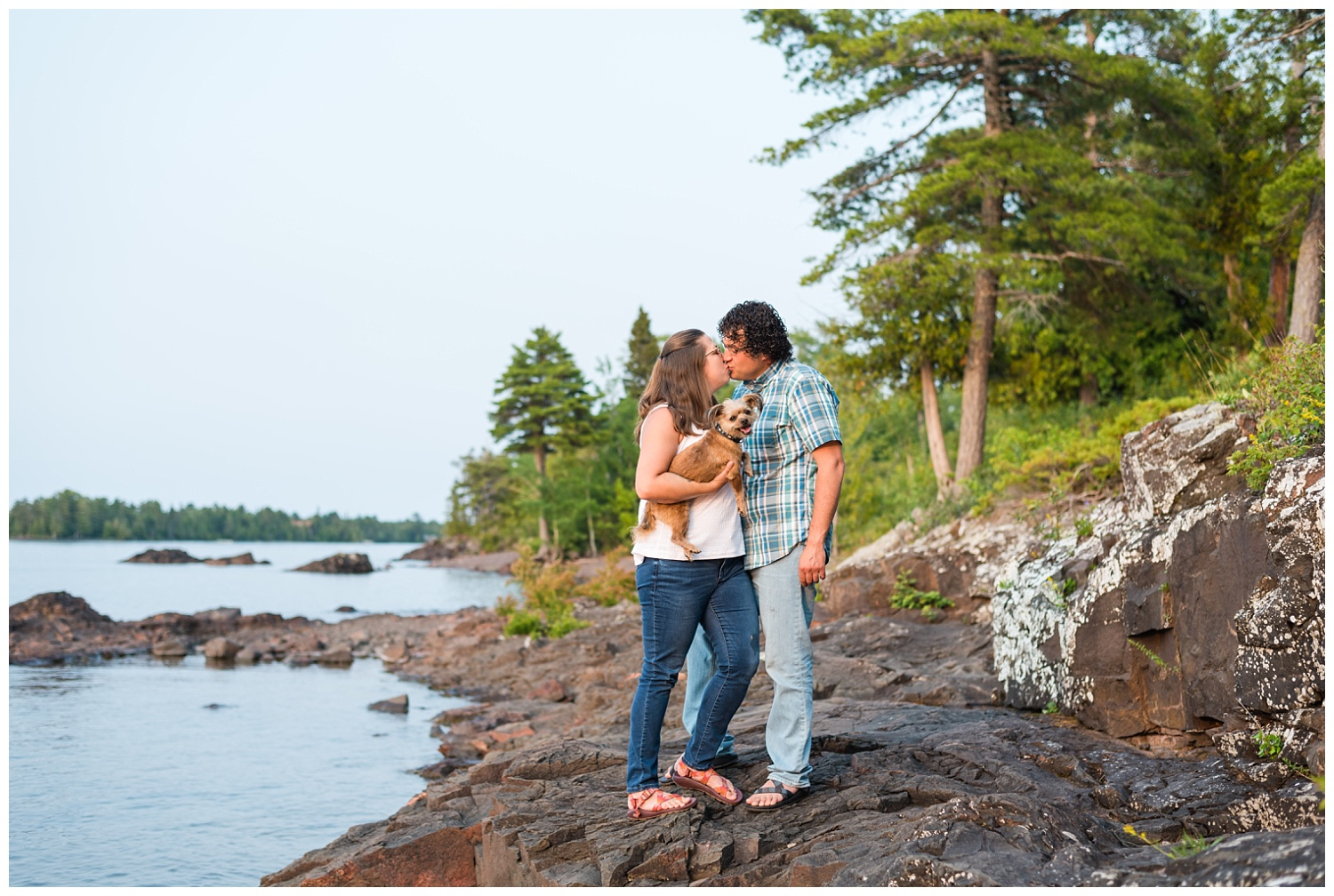 engagement session with dog in eagle harbor mi