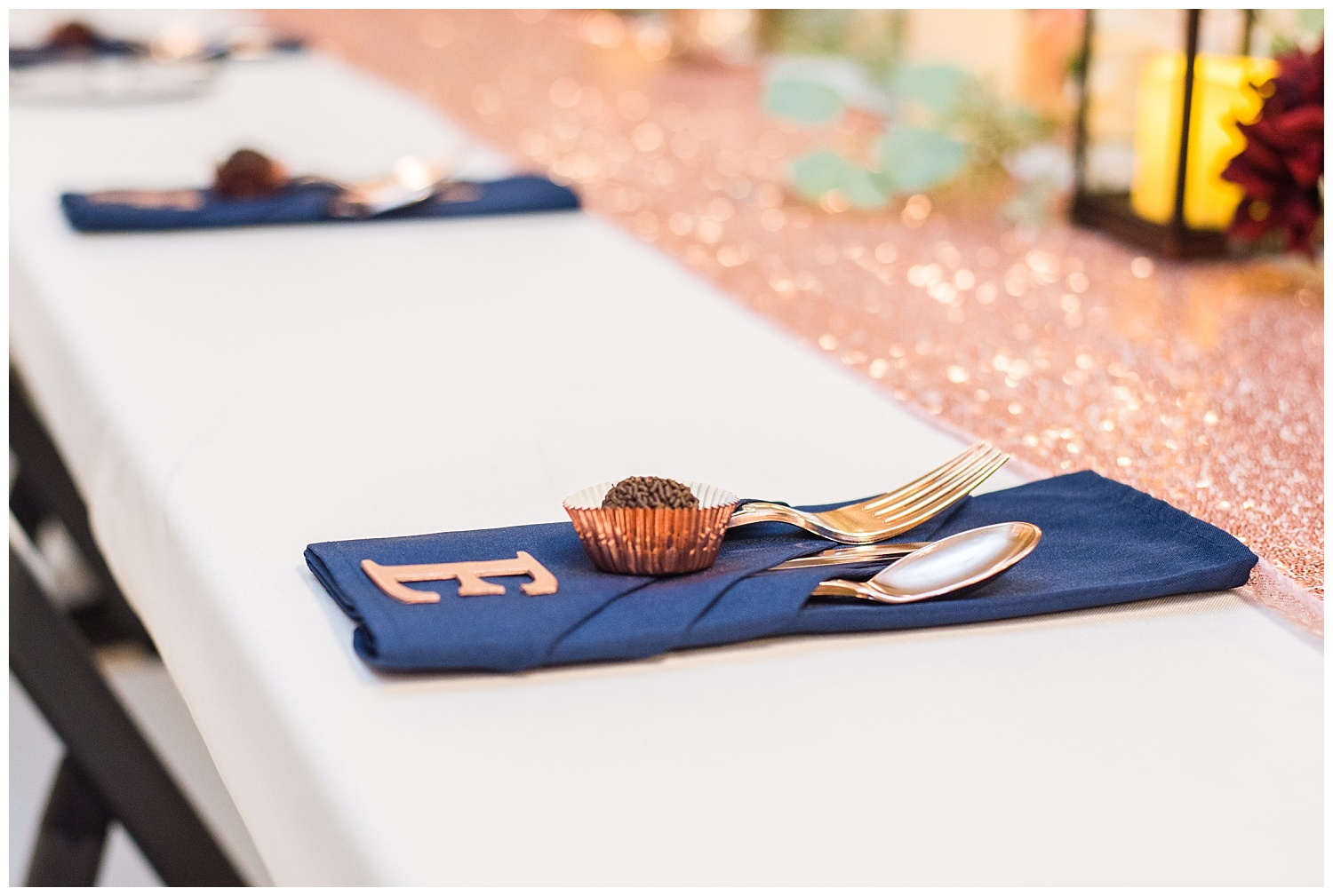 Michigan wedding reception details with chocolate and silverware