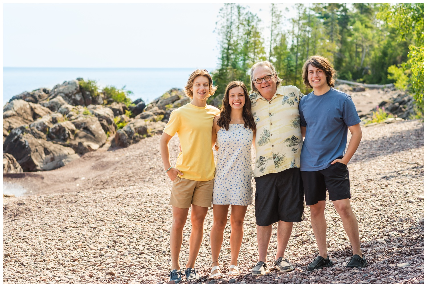 family pictures with teenagers and grandpa at Copper Harbor MI