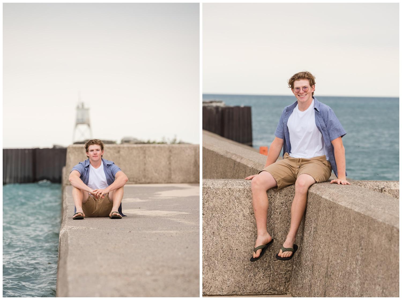guy high school senior session on grand marais mi pier
