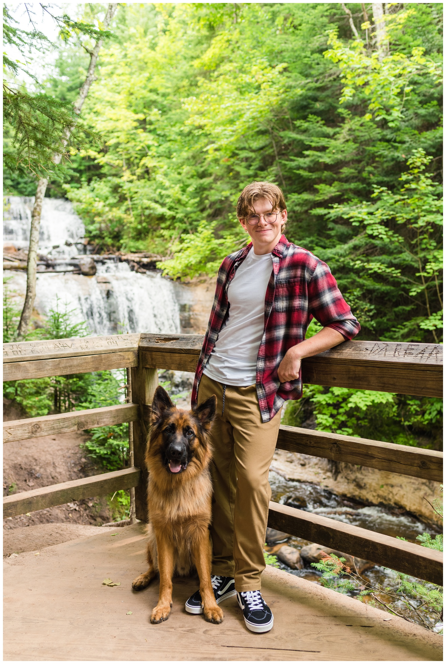 sable falls in grand marais mi with german shepherd